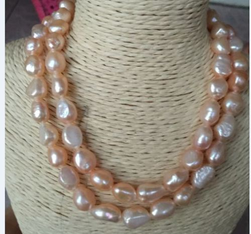 100% Selling Picture full new long 34inches 12-13mm baroque south pink pearl necklace