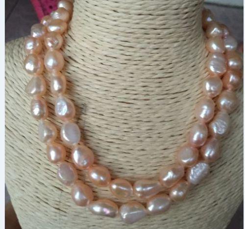 100% a Venda de Imagem completa nova de 34 polegadas de comprimento 12-13mm barroco do sul colar de pérolas rosa