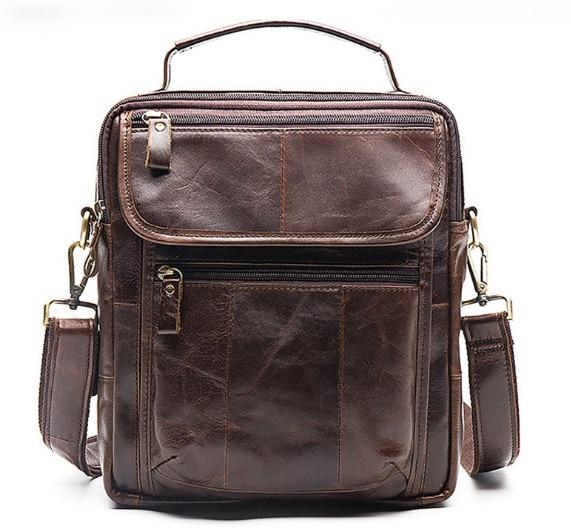 Men's Shoulder First Layer Cowhide Casual handBags Crazy Horse Genuine Leather Retro Men's Bag Vertical IPAD Messenger Bag все цены