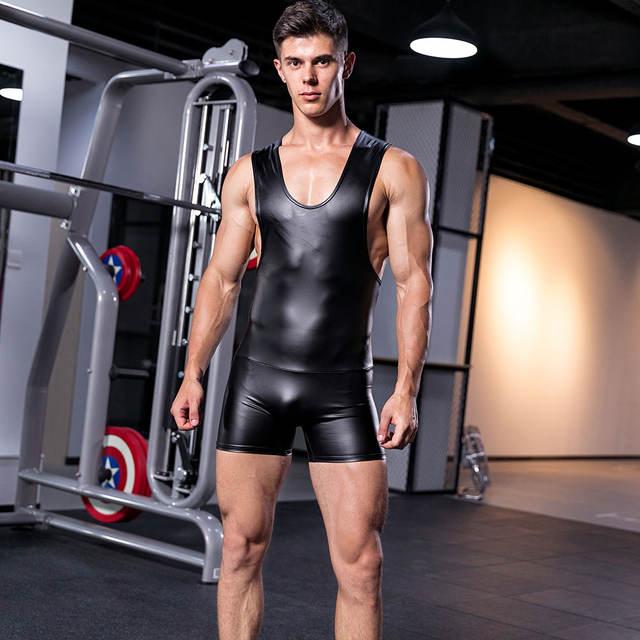 Sexy Leather y y Leotard Undershirt Men bodysuit body Man jumpsuit wresting Undershirts tight shaper gay club Dance Party