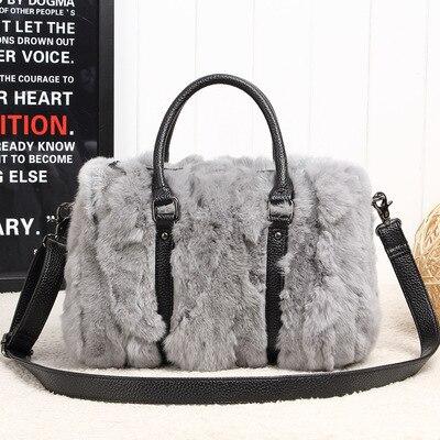 Winter Luxury Messenger Bag Genuine Leather Handbags Fashion Woman Real Fur Bags For Las Women Tote
