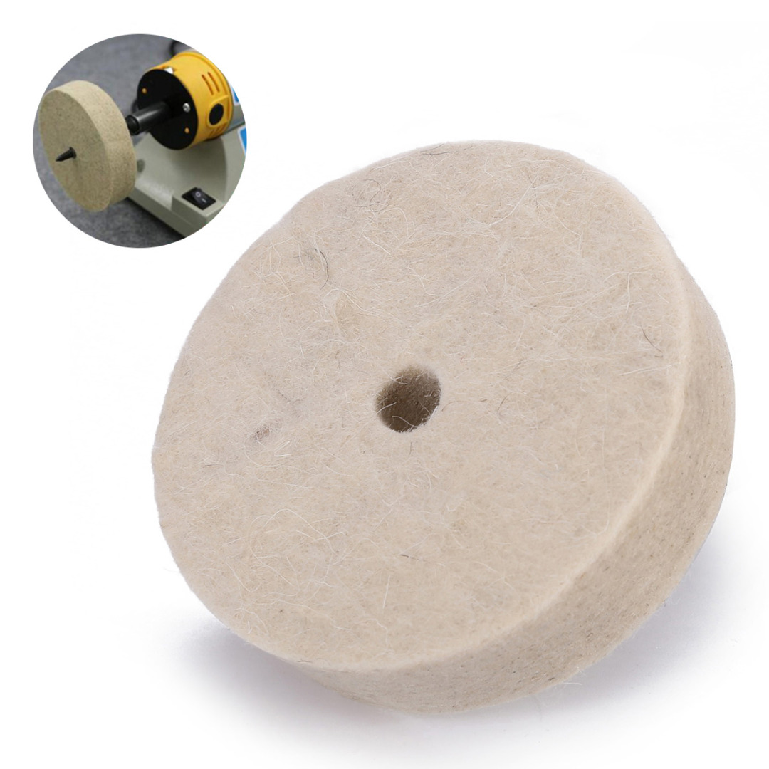Mayitr 3 Inch Round Polishing Wheel Felt Wool Buffing Polishers Pad Buffer For Wood Metal Polishing Durable Abrasive Tools