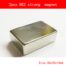 2pcs 30*20*10mm N52 Super Strong Magnets L30X20X10mm Neodymium Rare Earth Bar N52 Magnet