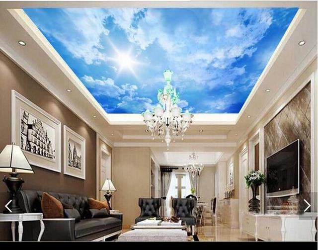3D wallpaper custom 3d ceiling wallpaper murals Beautiful sky blue sky  background wall ceiling 3d living