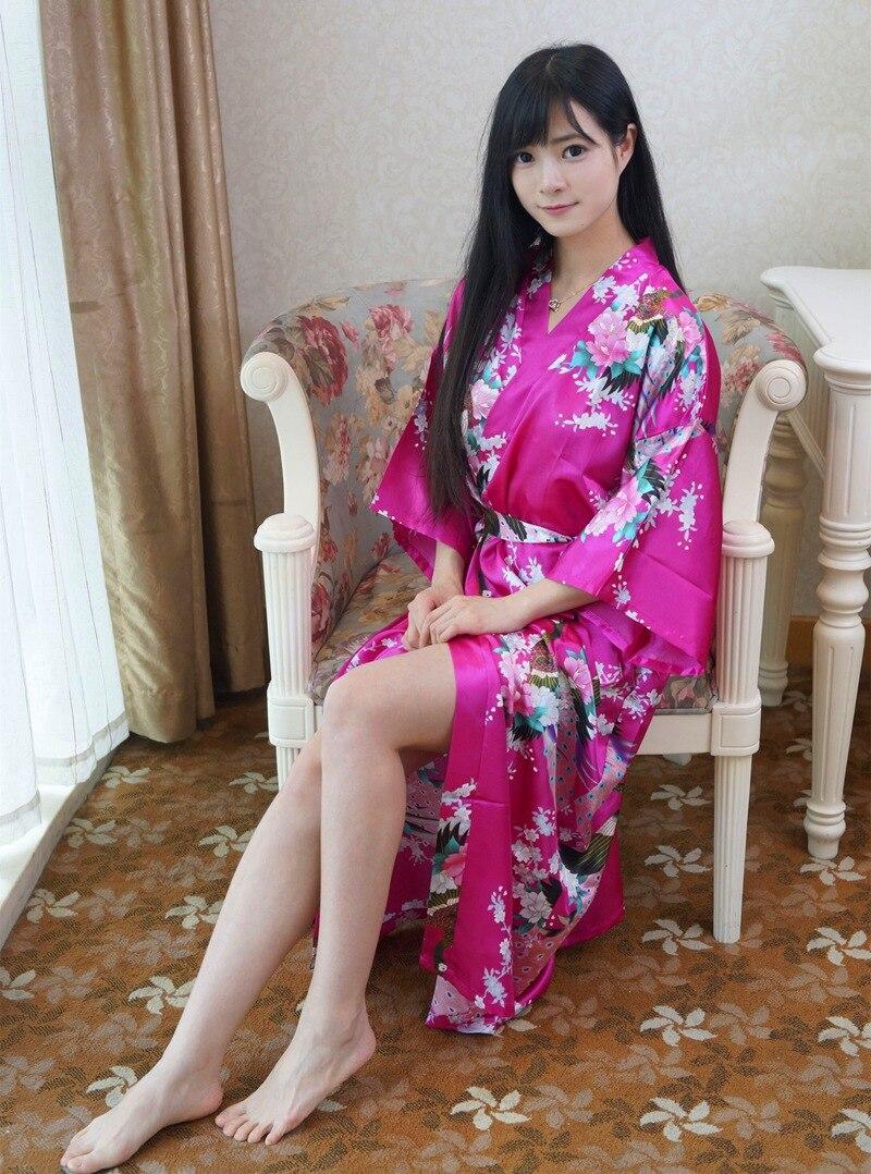 Hot Sale Hot Pink Chinese Lady Bathrobe Silk Rayon Long Kimono Bath Gown Bridesmaid Wedding Sexy Nightgown Dress One Size