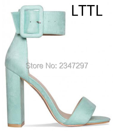 2017 concise nude suede flat summer sandals women sequined ankle strap dress shoes woman open toe bling sandals LTTL Summer Pink Mint Green Nude Black Suede Women Sandals Open Toe Buckle Ankle Strap Block High Heels Party Dress Shoes Women