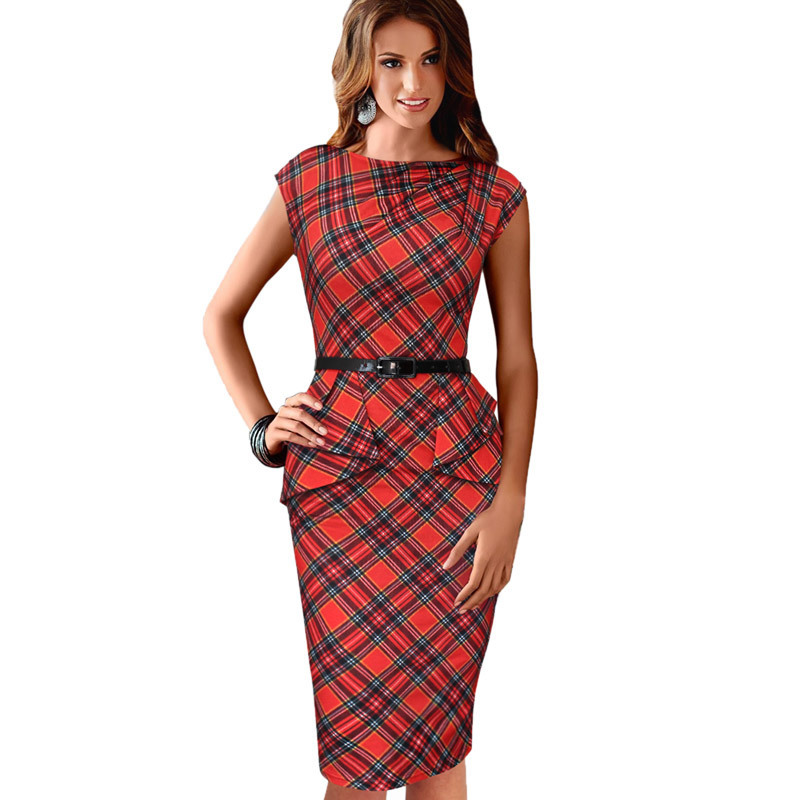 free shipping New Women s Vintage Elegant Belted font b Tartan b font Peplum Ruched Tunic