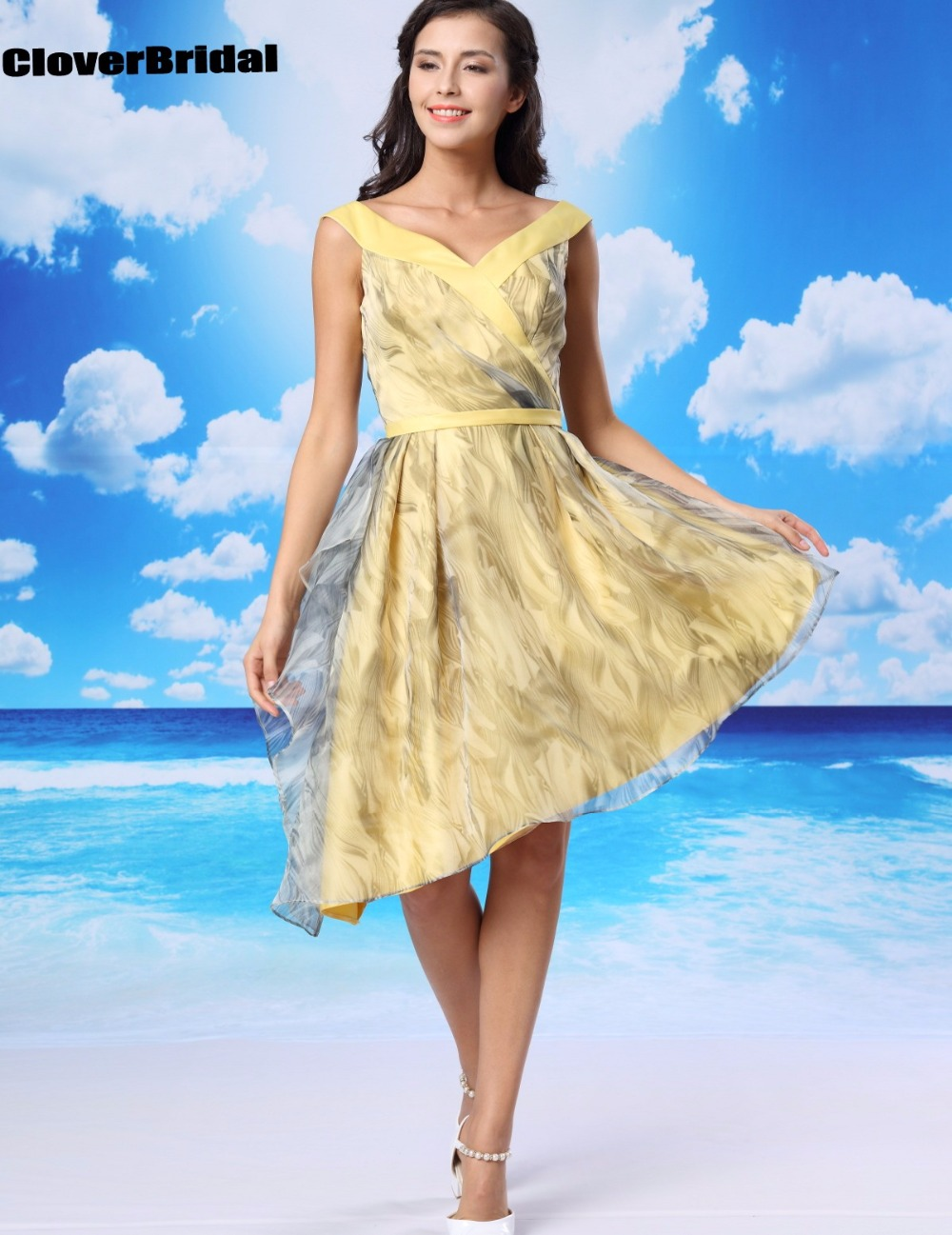 CloverBridal in stock yellow 8 grade beautiful cheap homecoming dresses graduation cute high low young girls printed dress