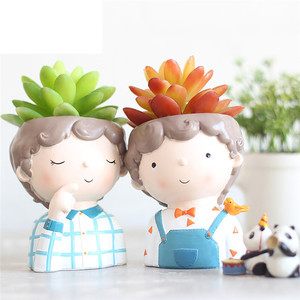 Image 5 - Cute Cartoon Boy Container for Home Garden Office Desktop Decoration guardian for flower plant  pot succulent can