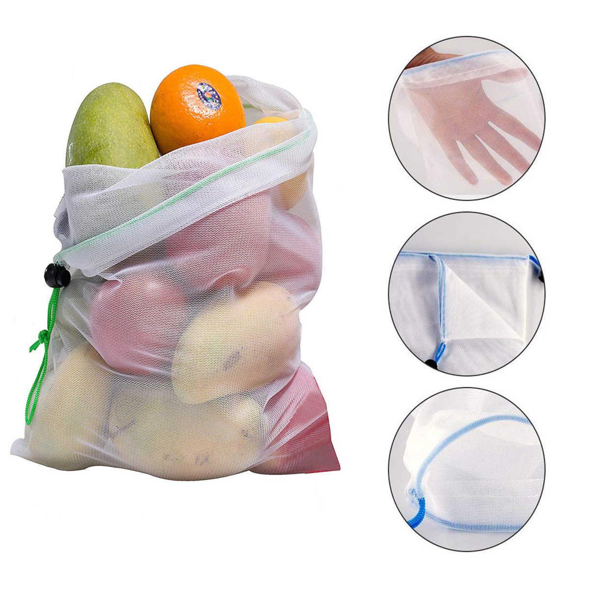 SML перерабатываемая Сетчатая Сумка многоразовая хозяйственная сумка Веревка растительная пища прибор для хранения фруктов мешочек продуктовые сумки шоппер сумка-Органайзер 15 шт/лот