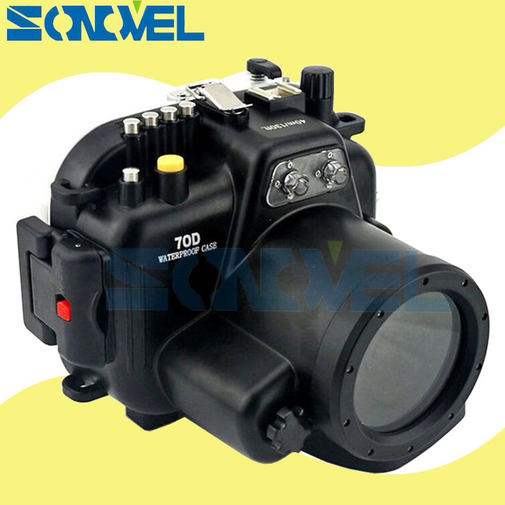 Meikon 40m 130ft Waterproof Underwater Diving Case Camera Housing Case For Canon EOS 70D 18-135mm or 18-55mm Lens meikon 40m 130ft waterproof case for canon eos m3 22mm port 18 55mm port underwater camera housing for eos mark iii mark 3