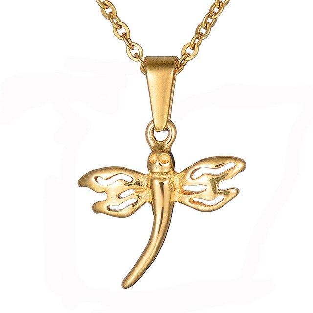 Neue Kinder Tier Schmuck 316L Edelstahl Libelle Halskette Farbe Gold ...