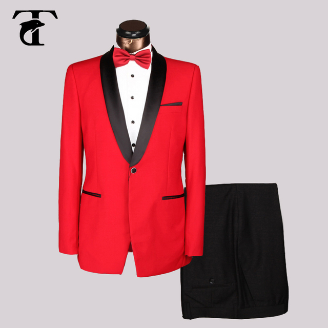 Elegant Men Suits For Wedding 2016 New Style Men Black Blue Red Dark Gray Business Suit Wit Pant Shawl Lapel Suits with pants