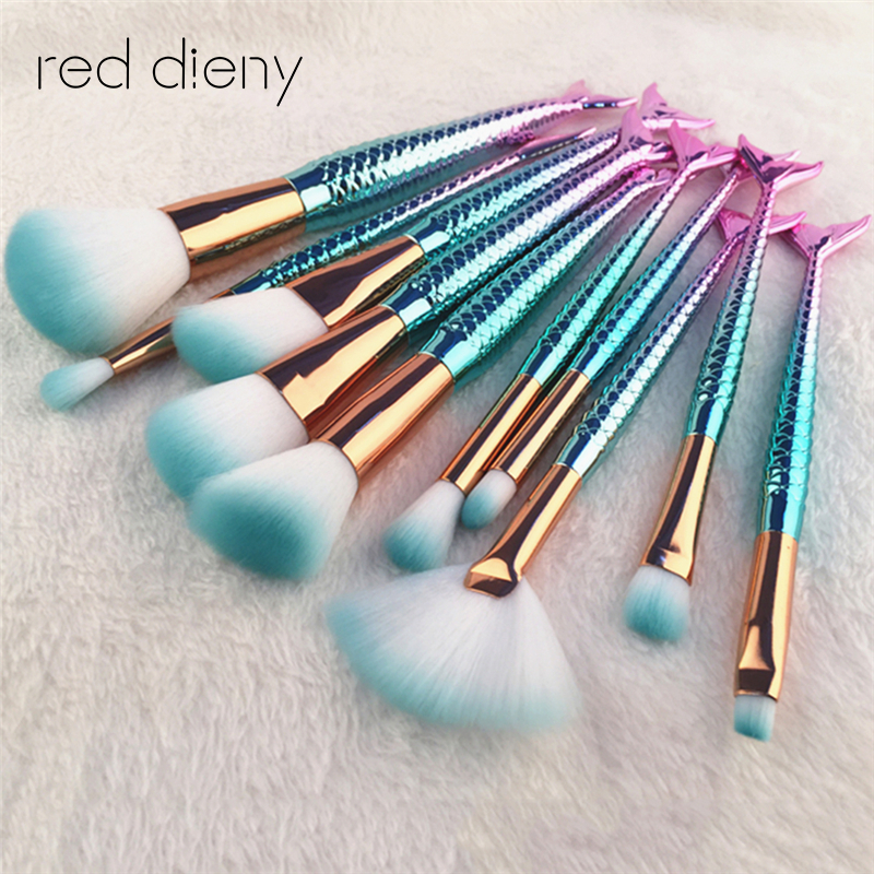 10Pcs Unique Mermaid Makeup Brush Set Fish Tail Foundation Powder Eyeshadow Make up Brushes Contour Blending Cosmetic Brushes pro 11pcs mermaid makeup brush set big fish tail foundation powder make up tools eyeshadow contour blending cosmetic fan brushes