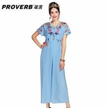 PROVERB Women Dress 2018 Summer O Neck Short Sleeves Boho Fashion Vintage Floral Embroidery Midi Dresses Casual Maxi Vestidos