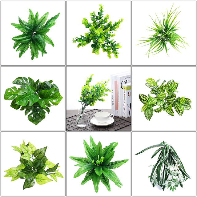 Artificial Plants Indoor Outdoor Fake Leaf Foliage Bush Home Office Garden  Decor Artificial Plant Dome Wedding