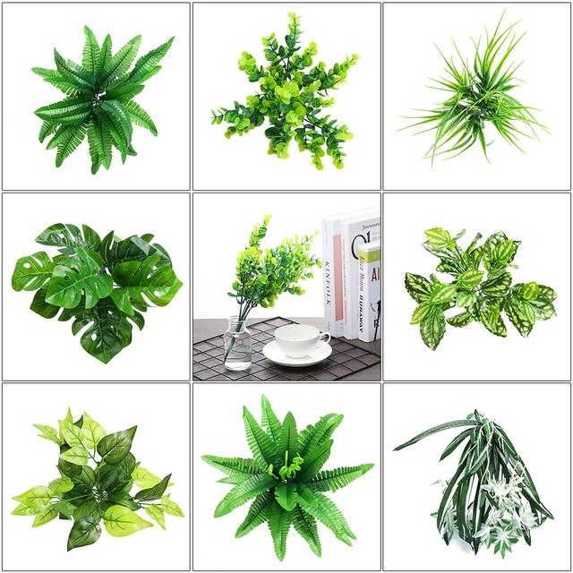 Artificial Plants Indoor Outdoor Fake Leaf Foliage Bush Home Office Garden Decor Plant Dome Wedding