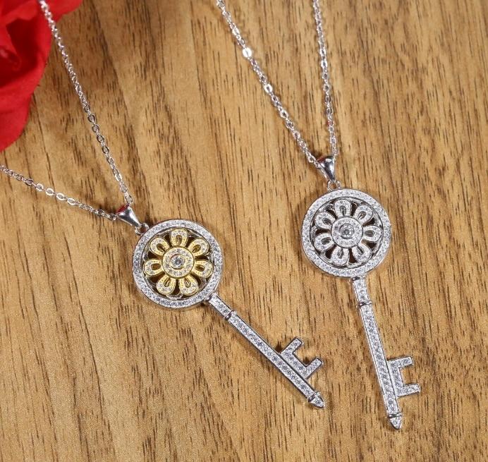 Chaud 100% Original 925 en argent Sterling romantique mode femmes collier bijoux couleur argent soleil fleur clé pendentif collier