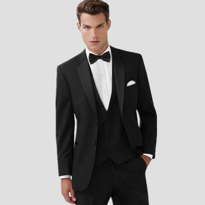 Haute Qualité Hommes costumes Deux Bouton Noir Smokings de Marié de ... 6d2ae9a7d40