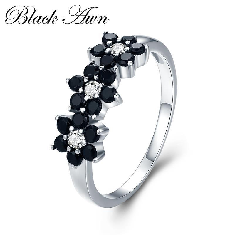 Cute 2.1g 925 Sterling Silver Fine Jewelry Flower Bague Black Spinel Wedding Rings For Women Girl Party Gift C464