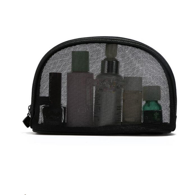Casual Black Net Yarn Makeup Bags Woman New Fashin Transparent Lace Cosmetic Bags Travel P