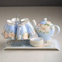 Bộ trà gốm nhà lạnh ấm đun nước Châu Âu cao cấp Bone Sứ bộ trà buổi chiều Bán Buôn món quà Cưới Miễn Phí Vận Chuyển