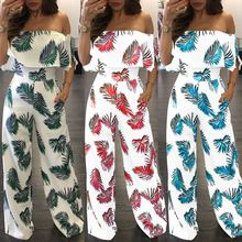 2018 Summer Women Jumpsuits Sexy Off Shoulder Floral Printed Ruffle Bodycon Rompers For S-XXL Laipelar