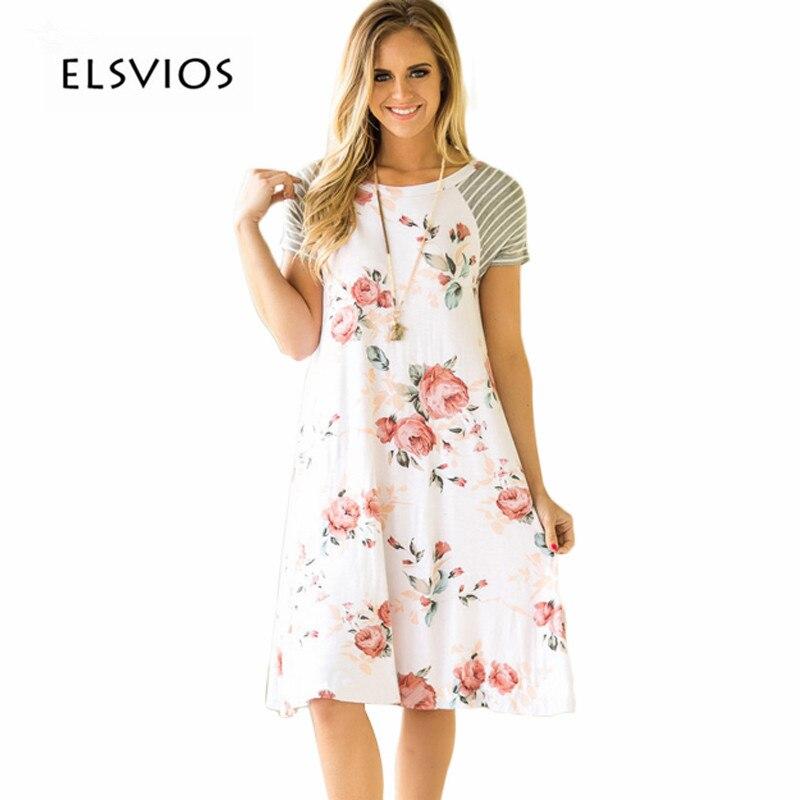 ELSVIOS Summer Floral impreso A-Line vestido mujeres O cuello de manga corta Patchwork Vestidos Casual mujeres Vestidos
