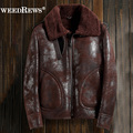 Vintage Men's Genuine Sheep Fur Shearling Coat Double-faced Fur Leather Clothing Short Design Pilot Leather Jacket For Winter
