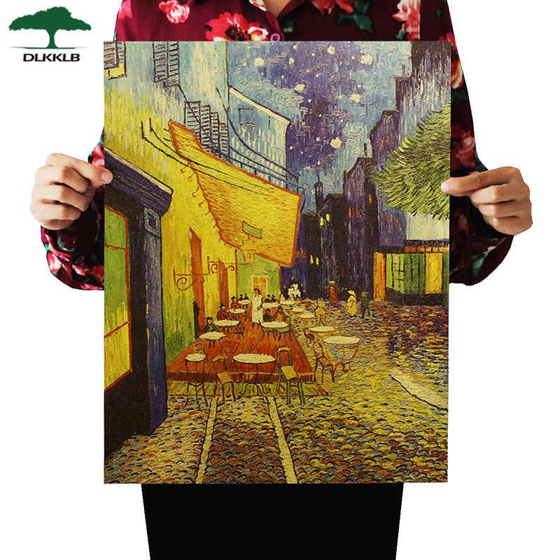DLKKLB فان جوخ مقهى اللوحة الزخرفية الحنين ديكور المنزل الرجعية كرافت ورقة ملصق ملصقات جدار اللوحة 36X47 سنتيمتر