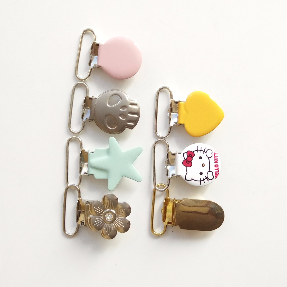 100pcs all of 25,20,15mm clearance sale wonder suspender clips for baby wholesale decorative metal pacifier clip holder