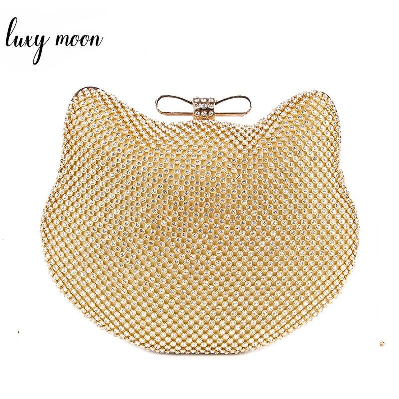Bolsas de Noite Moda Luxo Diamante Prata Cabeça Gato Ouro Strass Embreagem Arco nó Cristal Bolsa Glitter Feminina 1272