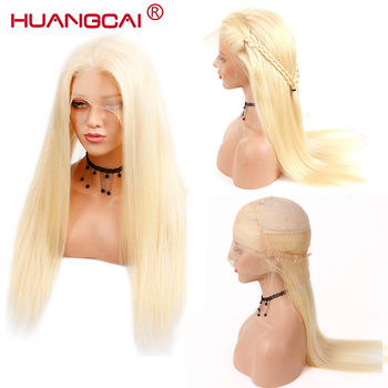#613 Blonde Full Lace Wig Pre Plucked With Baby Hair Straight Brazilian Blonde Full Lace Human Hair Remy Wigs 8-26 Inch Long Wig