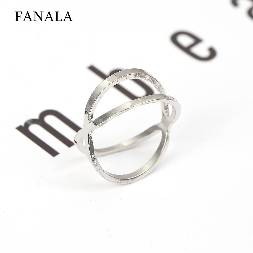 Cross Casual Circle X Women Hollow Ring Index Finger Ring