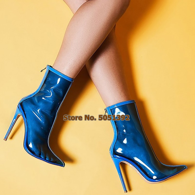 Women Autumn Plus Size Sexy Transparent Short Boots High Heel Pumps Point Toe Clear PVC Ankle Sexy Shoes in Ankle Boots from Shoes