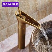 Contemporary Modern Open Spout Water Basin Faucet Bathroom Vessel Sink Mixer Taps Antique Brass Faucet