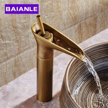 Grifo moderno y contemporáneo con boquilla abierta para lavabo, grifo mezclador para lavabo, grifo de latón antiguo