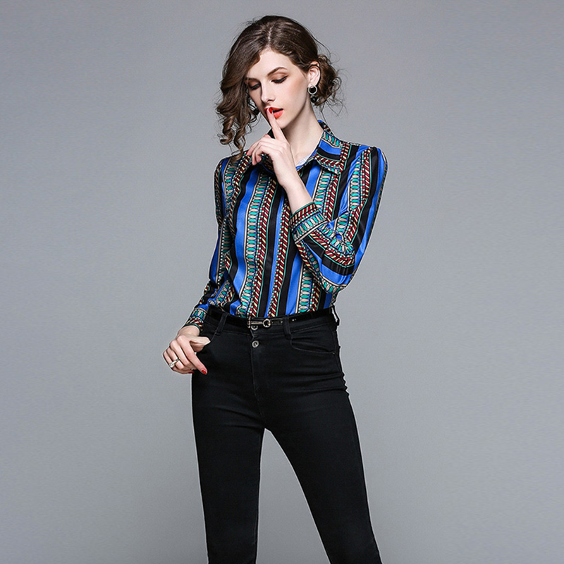d4d7ff3aac037 Aliexpress.com   Buy stripe print cotton blouse shirt Women tops casual  streetwear Office Lady OL blue blouse 2018 spring female Elegant blouses  from ...