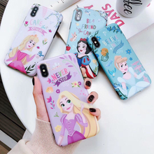 Cute Cartoon Snow White Princess Case Luxury For iPhone 8 plus XS XR XSMAX Shockproof Soft TPU Back Case For iPhone 7 6 6S Plus cute cartoon bee style protective tpu back case for iphone 5 yellow black white