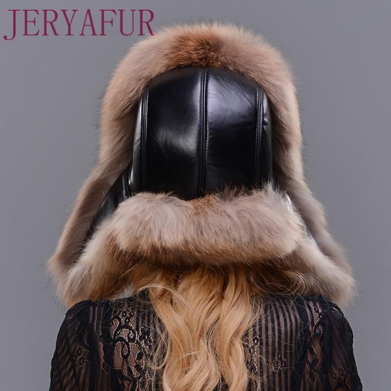 Natural silver fox fur raccoon skin handmade men and women can wear fur cap sheepskin cap winter ski cap Lei Feng hat ear