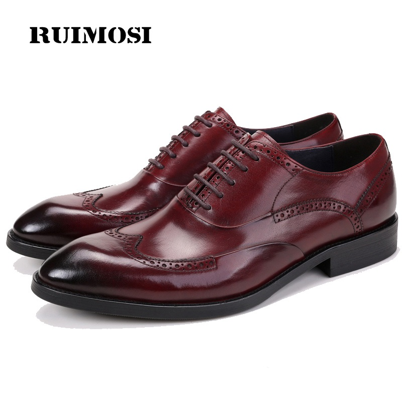 RUIMOSI Man Wing Tip Brogue Dress Shoes Genuine Leather Male Wedding Oxfords Round Toe Formal Luxury Brand Men's Flats ZH79