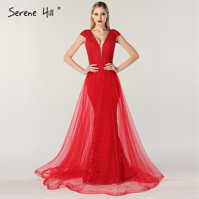 c5c094638228 Red Mermaid Lace Pearls Fashion Evening Dresses 2019 Sleeveless Sexy Luxury  Formal Evening Gowns Serene Hill LA6604