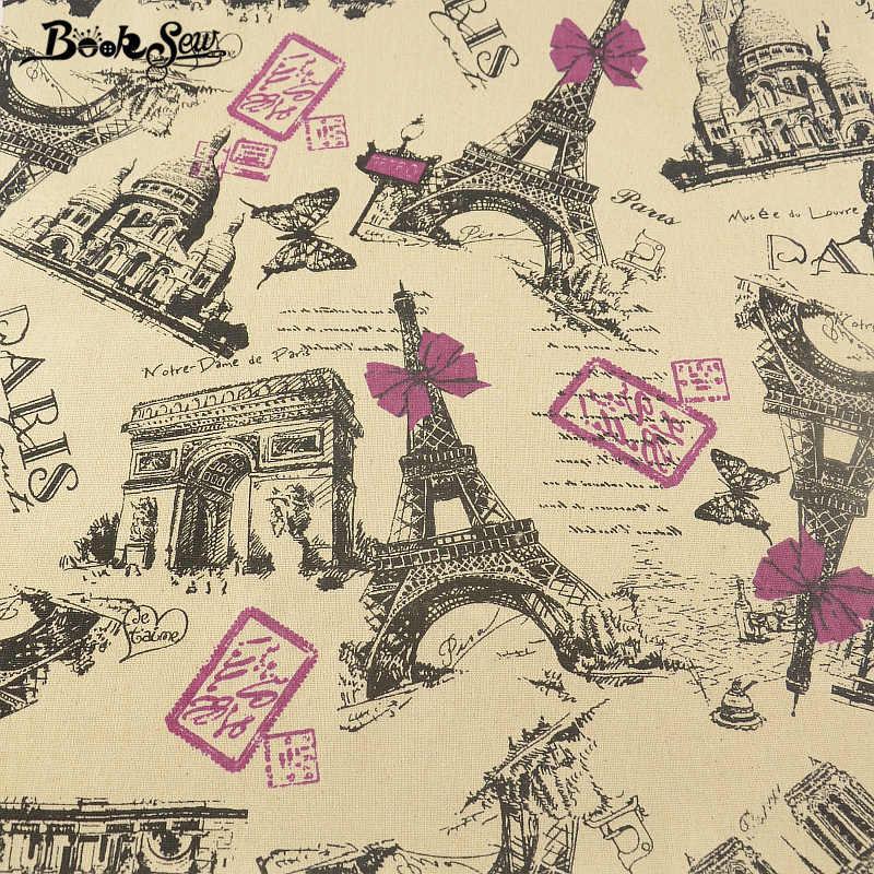 Booksew Africano Ankara Tessuto di Lino Parigi Tema Tessuto di Raso Tovaglia Borsa Fai da Te Tenda Tissu Patchwork Zakka Materiale da Cucire