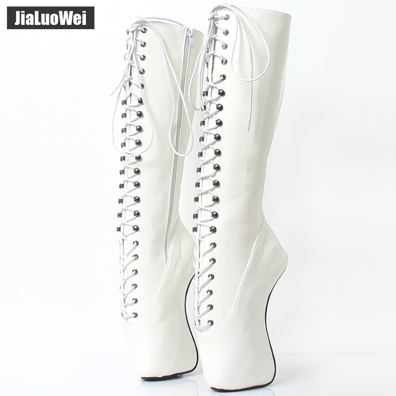 2018 New Arrive 18CM High Heel Ballet Wedge Hoof Fetish Lace up Knee High Unisex Ballet Pinup Boots-in Knee-High Boots from Shoes