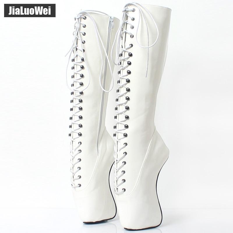 2018 New Arrive 18CM High Heel Ballet Wedge Hoof Fetish Lace Up Knee-High Unisex Ballet Pinup Boots