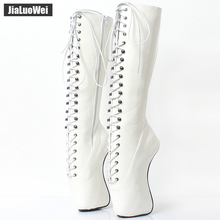 купить 2018 New Arrive 18CM High Heel Ballet Wedge Hoof Fetish Lace up Knee-High Unisex Ballet Pinup Boots дешево