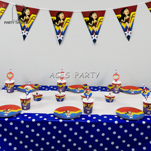إمدادات حزب 62 قطع ل 12 الاطفال عجب امرأة موضوع عيد ميلاد الحزب الديكور مجموعة أدوات المائدة ، لوحة + كوب + القش + بنر + غلاف