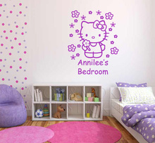 Personalised Custom Name Wallpaper Hello Kitty Wall Sticker Flowers Girls Bedroom Decal for Baby Room Home Decoration 60*75CM(China (Mainland))