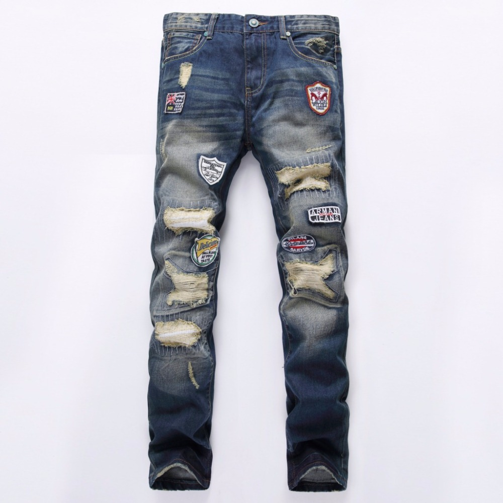 2017 Spring Fashion Mens Jeans Brand Designer Hole Badge Slim Cotton Straight Denim Trousers Luxury Classic Ripped Jeans For Men 2017 fashion patch jeans men slim straight denim jeans ripped trousers new famous brand biker jeans logo mens zipper jeans 604