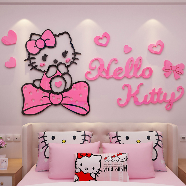 Cartoon 3D Acrylic Wall Sticker Hello Kitty Wall Stickers For Kids Rooms  Decoration Chambre Fille Adesivo De Parede Infantil